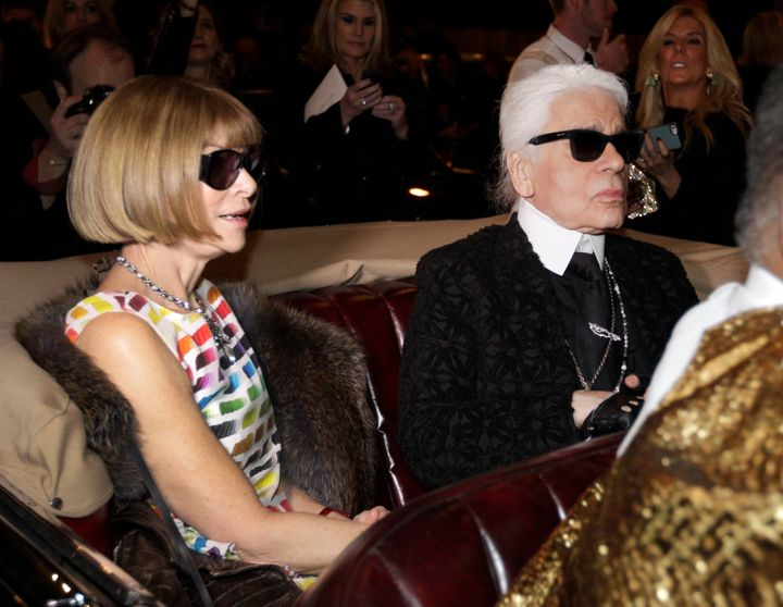 Anna Wintour, left, the editor-in-chief of American Vogue, with Karl Lagerfeld on Dec. 10, 2013.