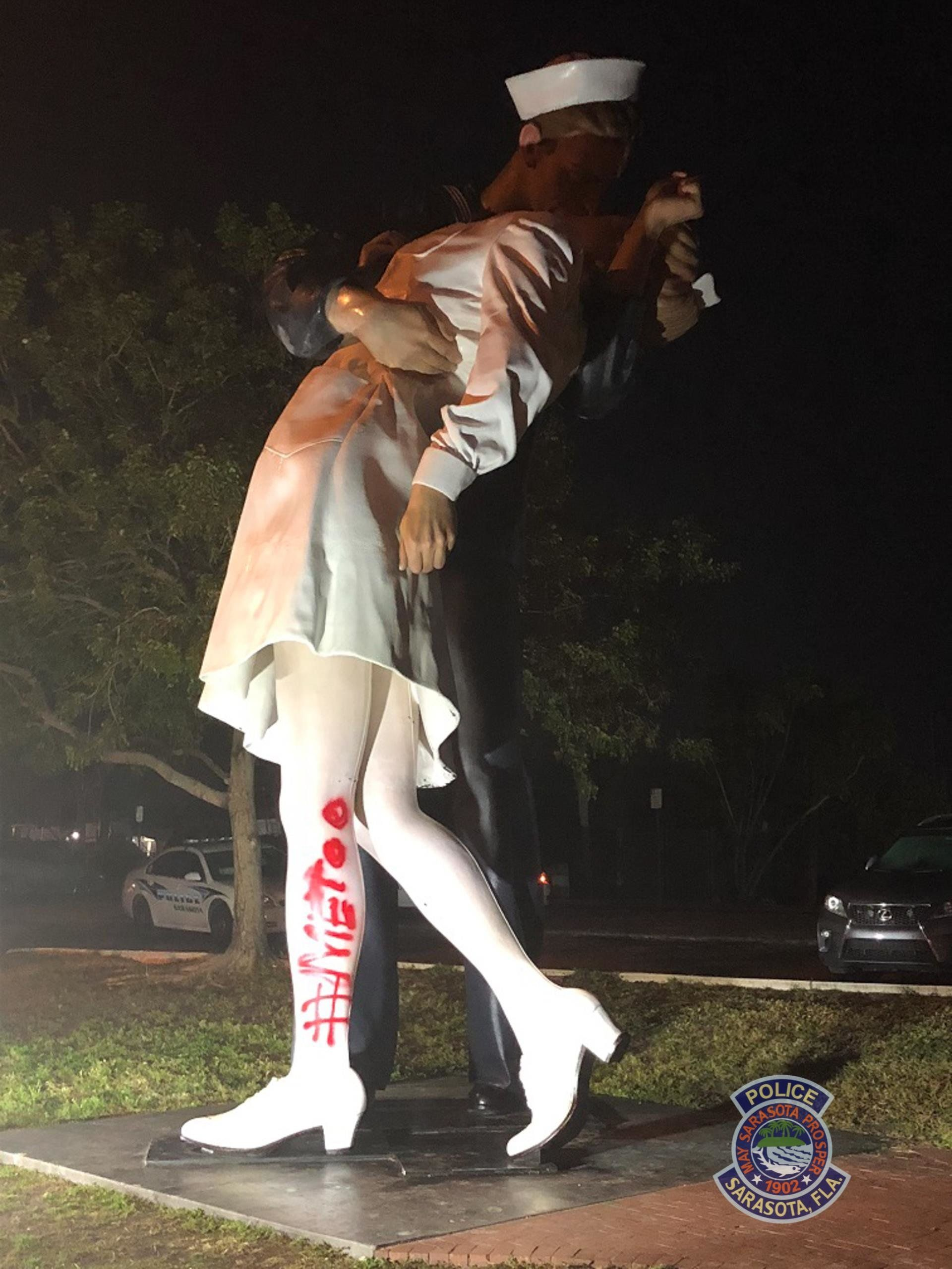 """The statue, called Unconditional Surrender, was found spraypainted with the """"MeToo"""" hashtag early Tuesday morning, police sai"""