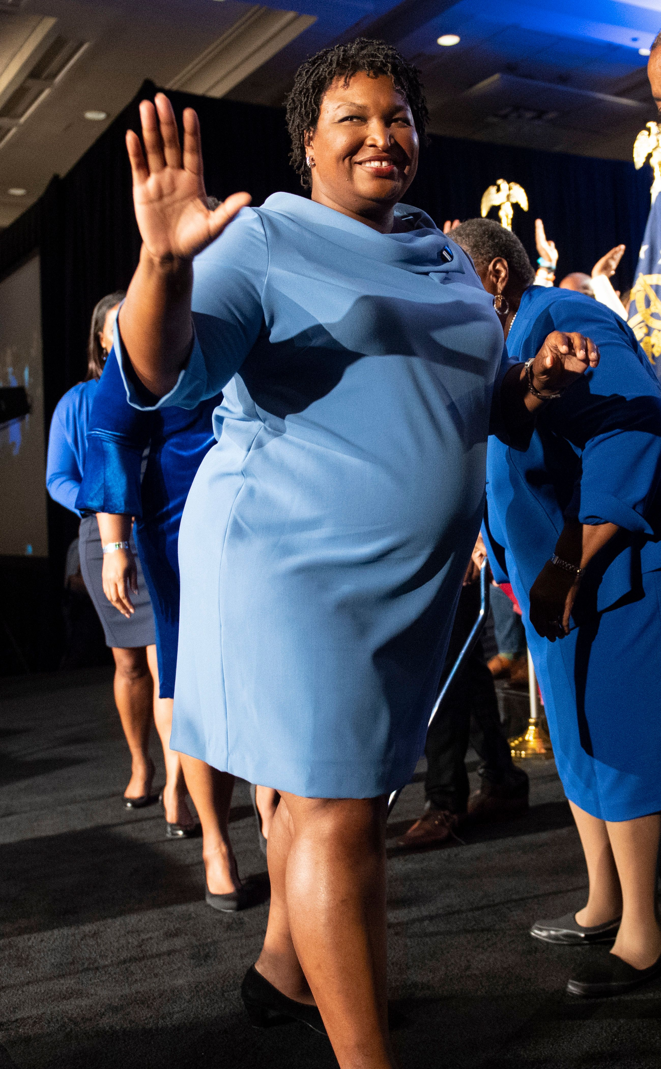 Georgia Democratic gubernatorial candidate Stacey Abrams leaves the stage after addressing supporters during an election night watch party, Tuesday, Nov. 6, 2018, in Atlanta. Abrams expects a runoff with Republican opponent Brian Kemp. (AP Photo/John Amis)