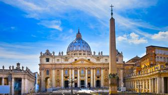 Papal appearance and Saint Peters Basilica in Saint Peters Square. Vatican City. Rome, Lazio. Italy.