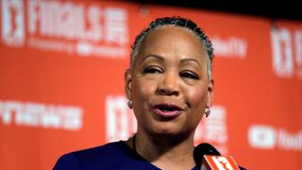 WNBA president Lisa Borders addresses media members before Game 1 of the WNBA basketball finals between the Seattle Storm and the Washington Mystics Friday, Sept. 7, 2018, in Seattle. (AP Photo/Elaine Thompson)