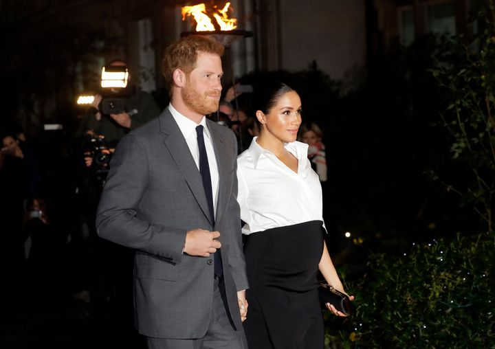 Prince Harry and Meghan, Duchess of Sussex arrive at the annual Endeavour Fund Awards in London on Feb. 7.