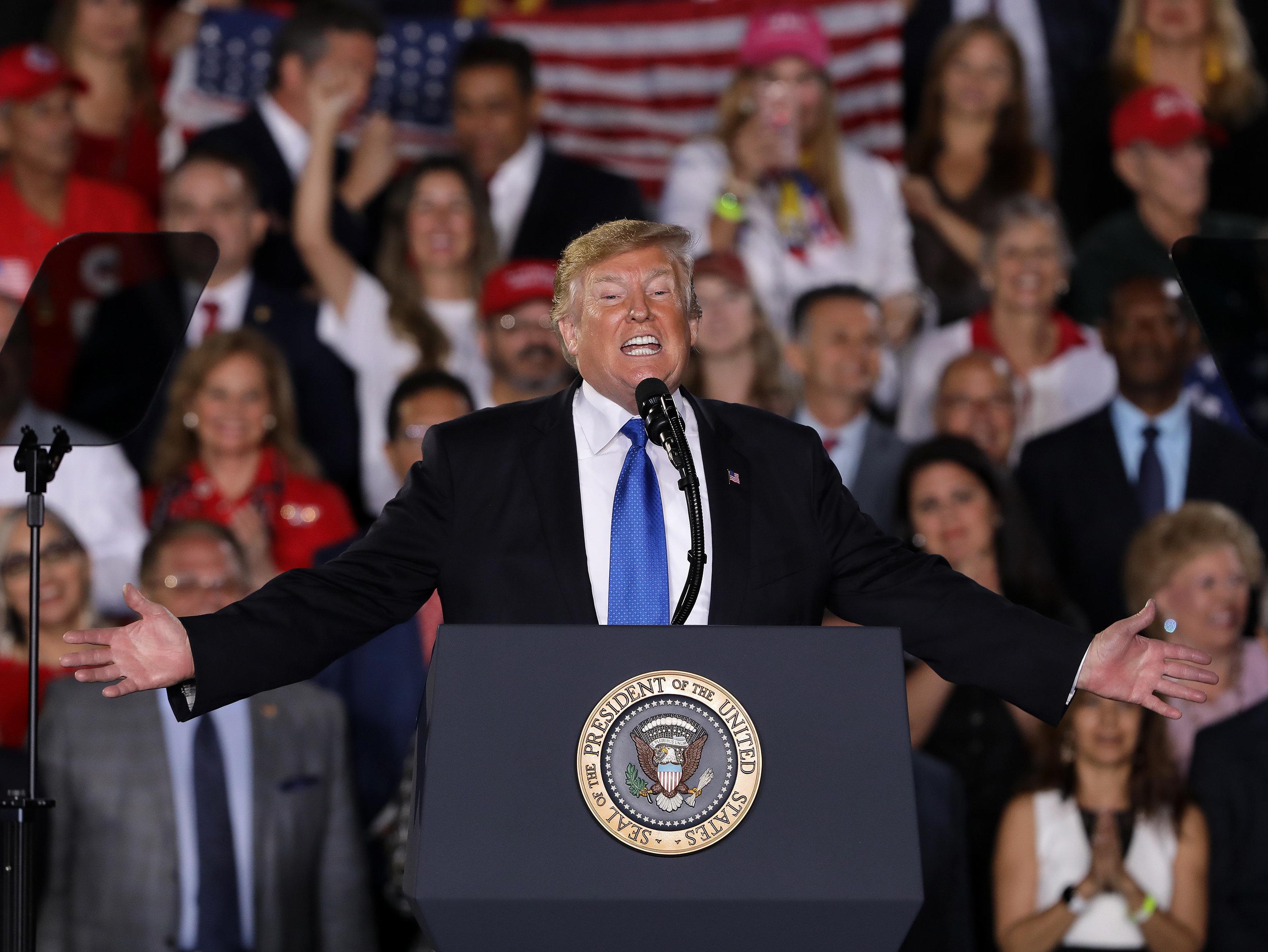 MIAMI, FL - FEB 18: President Donald J. Trump is seen during President Donald J. Trump Remarks to the Venezuelan American Community on February 18, 2019 in Miami, Florida. (Photo by Alberto E. Tamargo/Sipa USA)