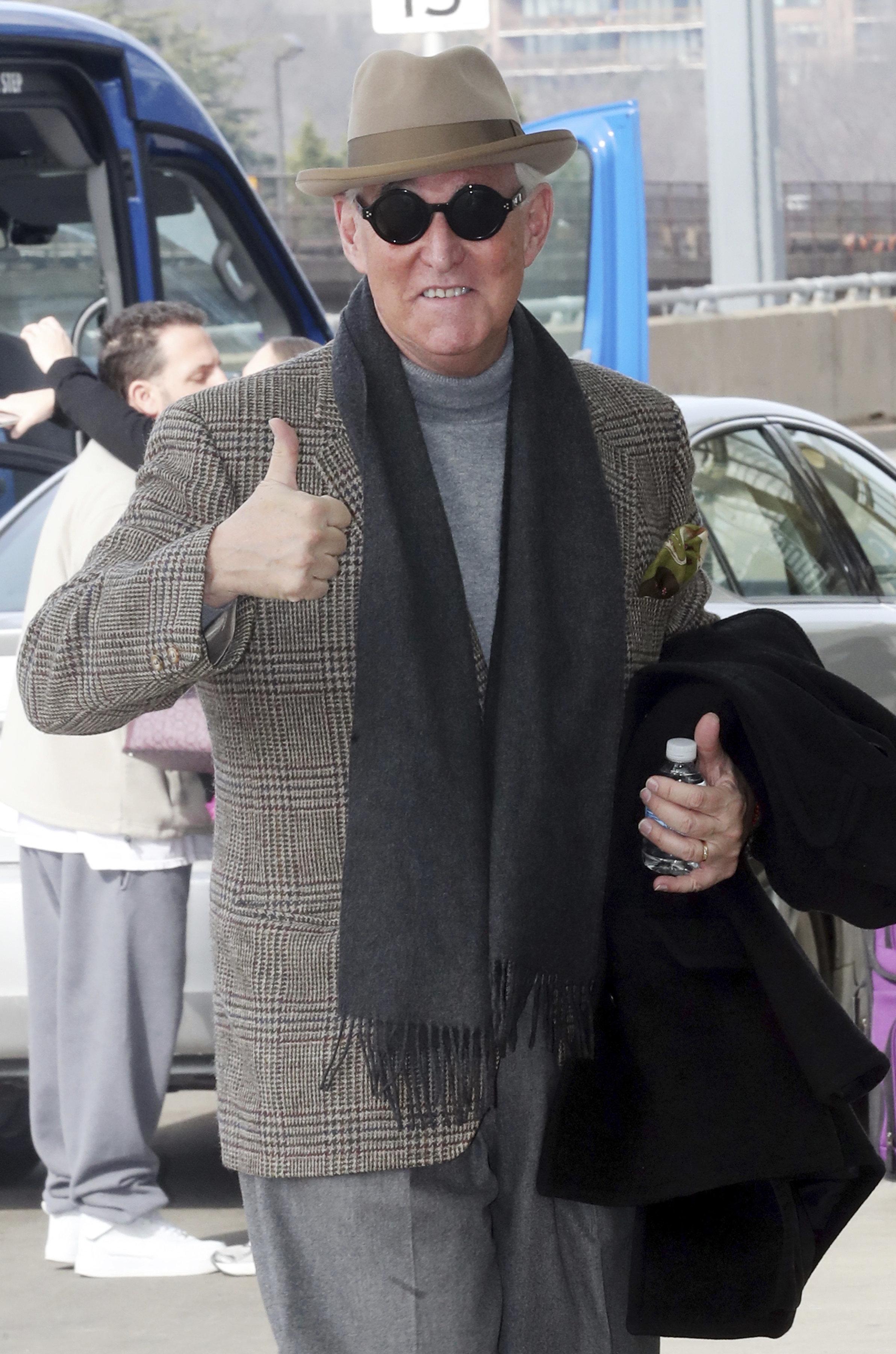 ARLINGTON, VA - FEBRUARY 3: Roger Stone seen arriving at Ronald Reagan Washington National Airport in Arlington, Virginia on his way to Boston on February 3, 2019. Credit: mpi34/MediaPunch /IPX