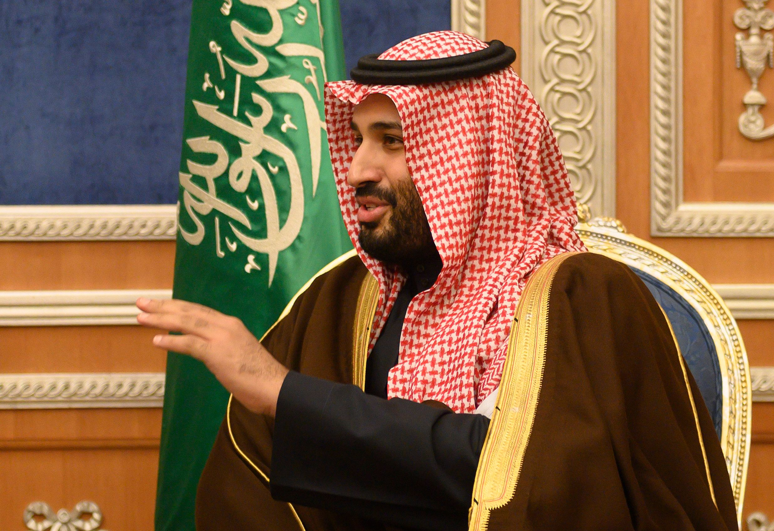 Saudi Crown Prince Mohammed bin Salman, meets with U.S. Secretary of State Mike Pompeo at the Royal Court, in Riyadh, Monday, January 14, 2019. Pompeo met with Saudi King Salman and the crown prince on the latest stop of his Middle East tour that has so far been dominated by questions and concerns about the withdrawal of U.S. troops from Syria. (Andrew Cabellero-Reynolds/Pool via AP)
