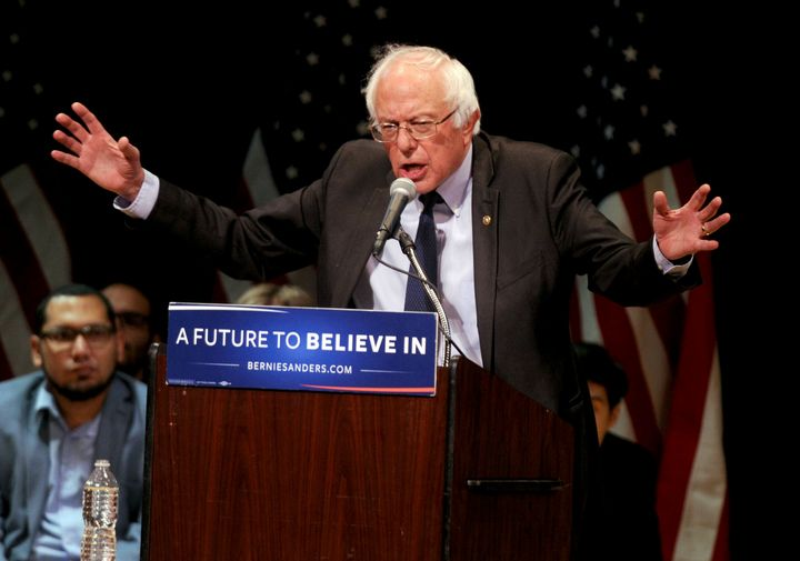 Sen. Bernie Sanders (I-Vt.) addresses supporters in New York in June 2016 after he bowed out of the race for the Democratic presidential nomination. He officially entered the 2020 race on Tuesday.