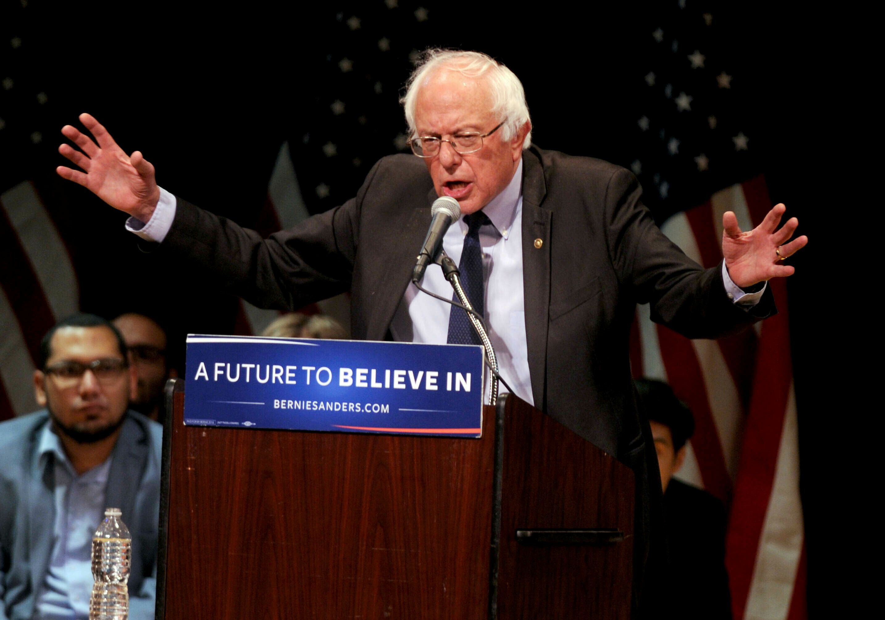 Sen. Bernie Sanders (I-Vt.) addresses supporters in New York in June 2016 after he bowed out of the race for the Democratic p