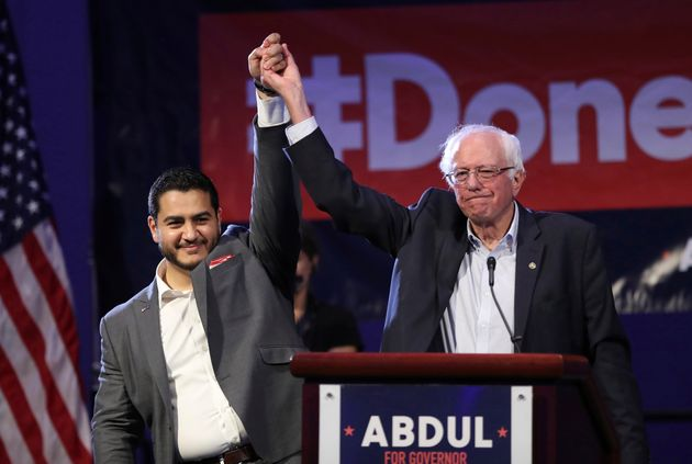 Sanders campaigns for then-Michigan gubernatorial candidate Abdul El-Sayed last August in Detroit. El-Sayed, who...