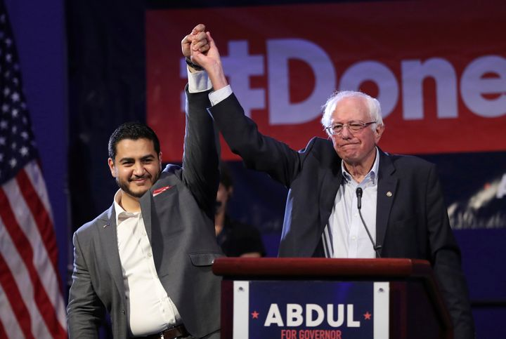 Sanders campaigns for then-Michigan gubernatorial candidate Abdul El-Sayed last August in Detroit. El-Sayed, who lost th