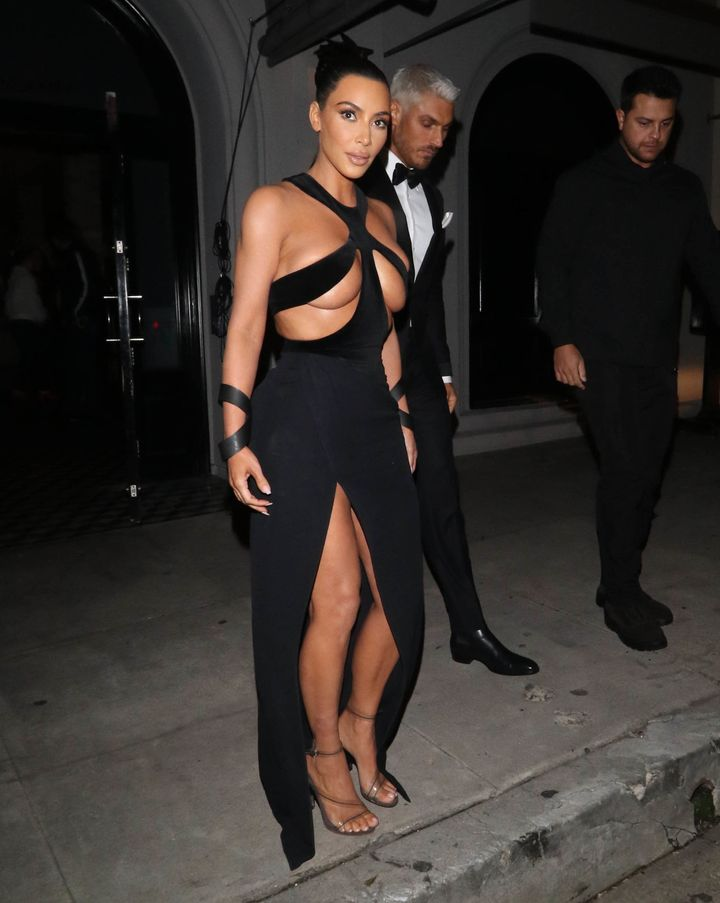 Kim Kardashian wears the real thing -- a Thierry Mugler gown -- on Sunday at the fifth annual Hollywood Beauty Awards in Los Angeles. A fast fashion company is already taking orders for a copy.