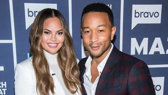 WATCH WHAT HAPPENS LIVE WITH ANDY COHEN -- Pictured (l-r): Chrissy Teigen and John Legend -- (Photo by: Charles Sykes/Bravo/NBCU Photo Bank via Getty Images)