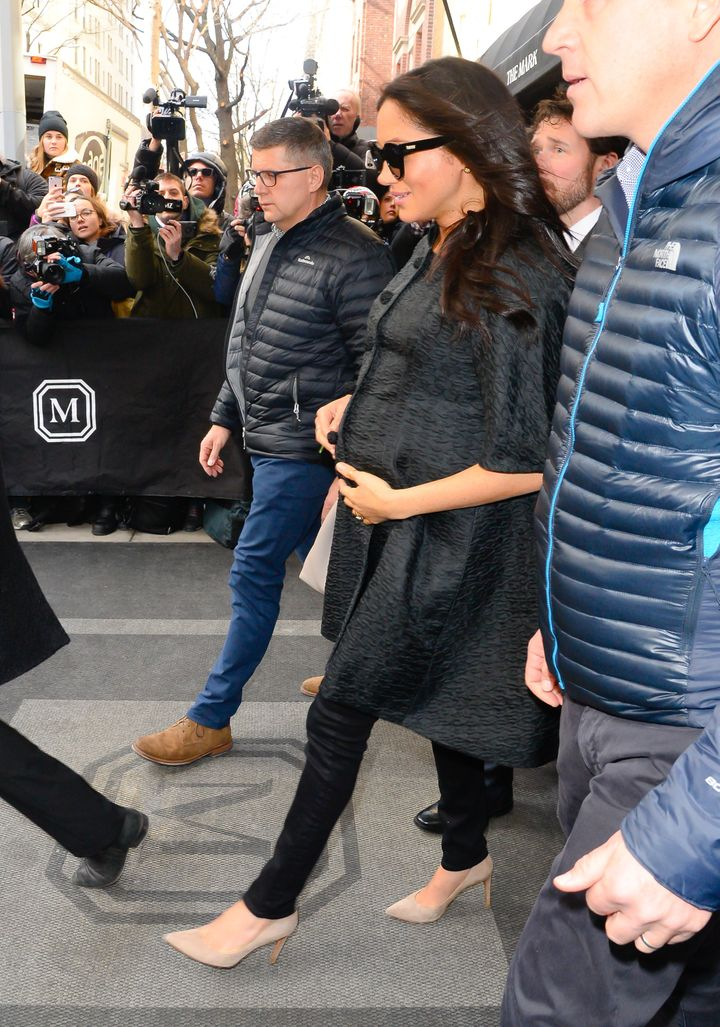 Meghan, Duchess of Sussex, exiting The Mark Hotel.