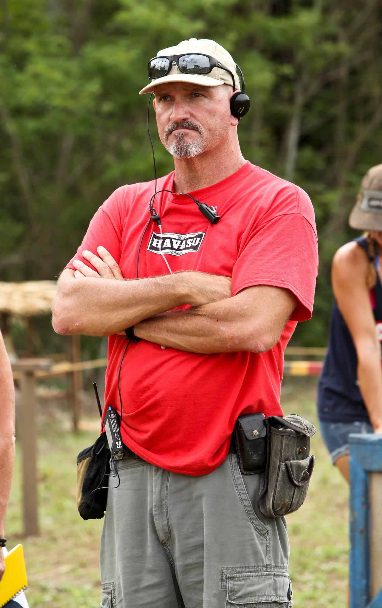 """John Kirhoffer on location for """"Survivor""""."""