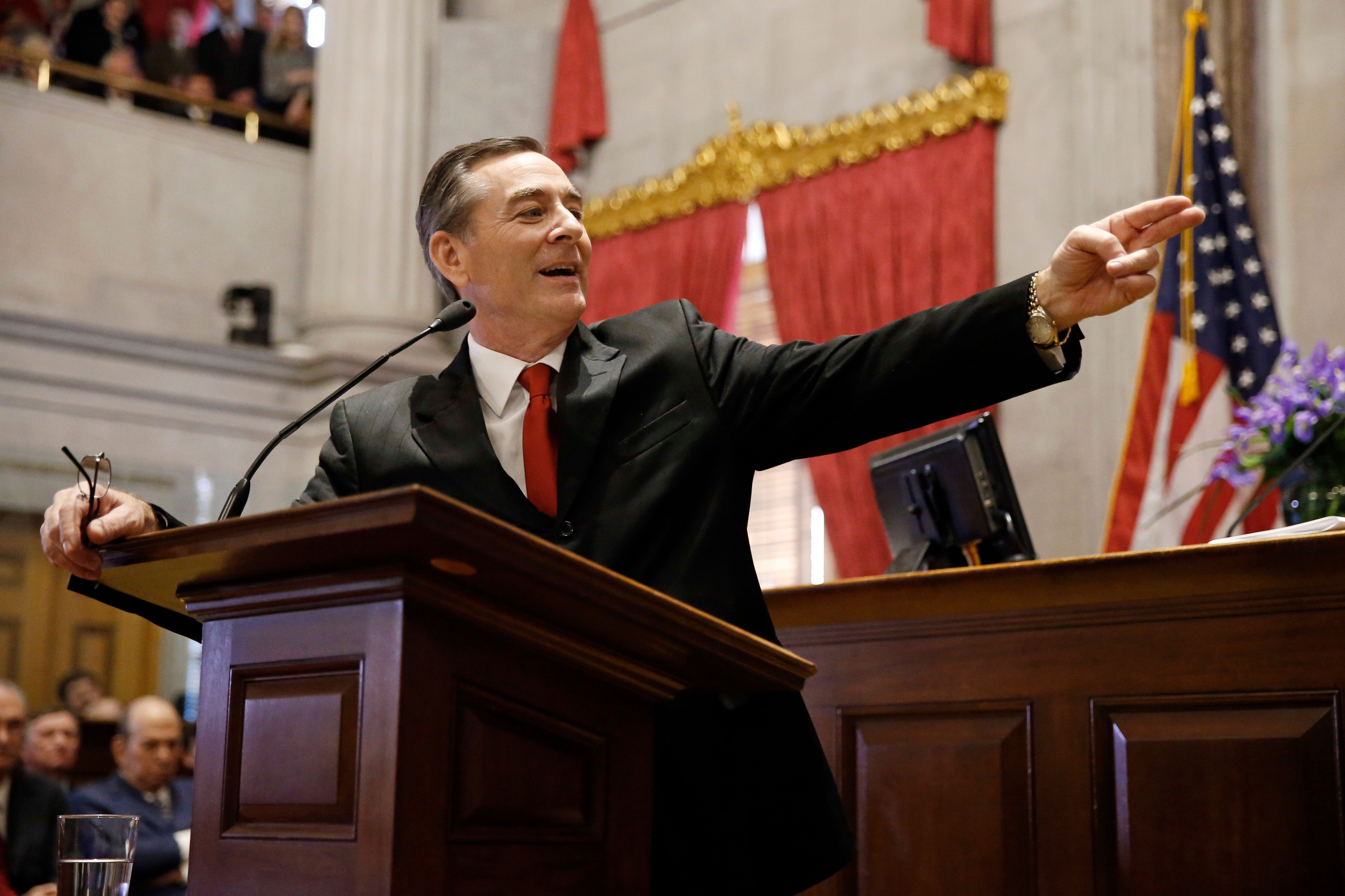 House Speaker Glen Casada, R-Franklin, speaks after being sworn in on the opening day of the 111th General Assembly, Tuesday, Jan. 8, 2019, in Nashville, Tenn. (AP Photo/Mark Humphrey)