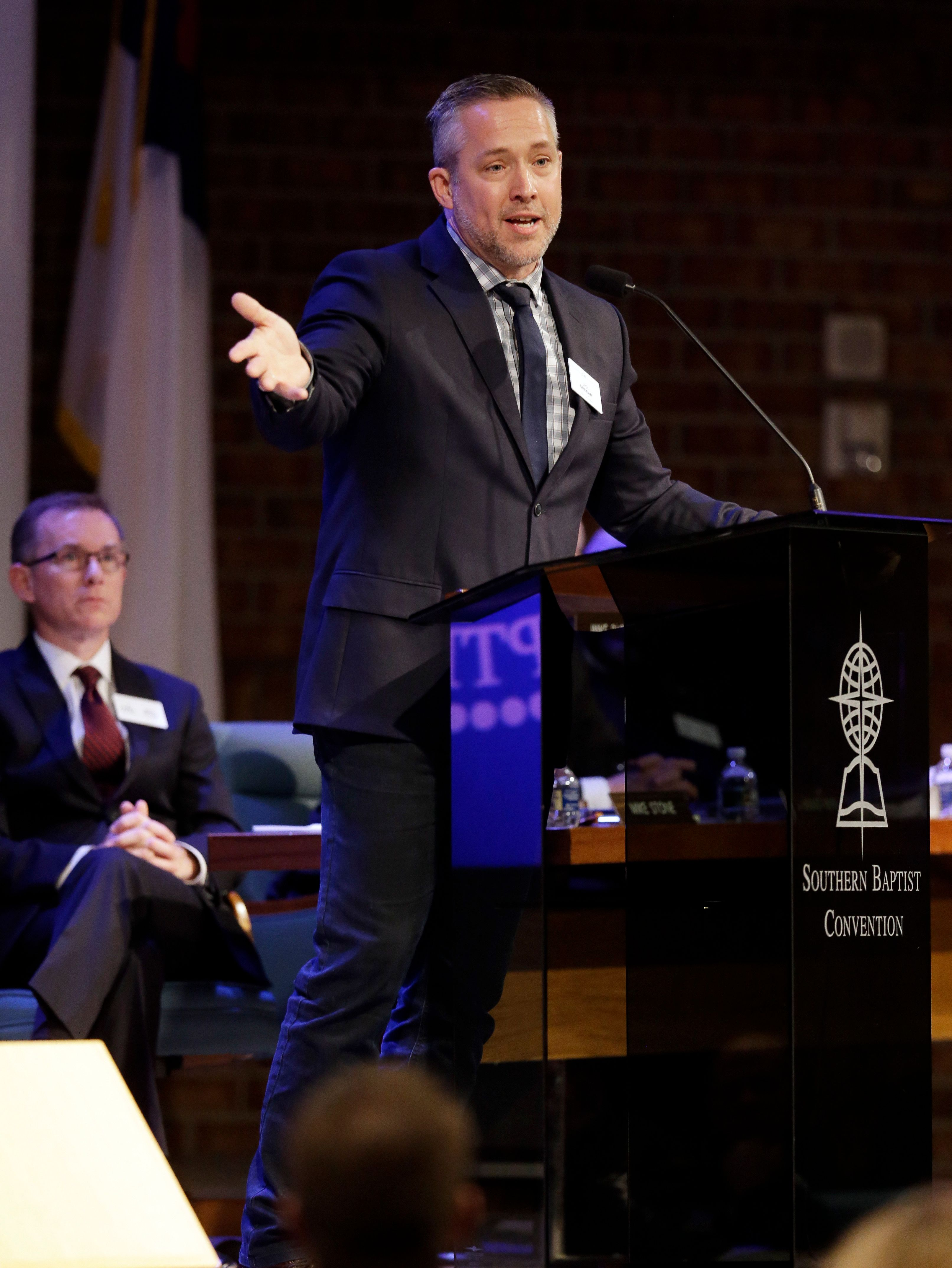 Southern Baptist Convention President J.D. Greear speaks to the denomination's executive committee Monday, Feb. 18, 2019, in