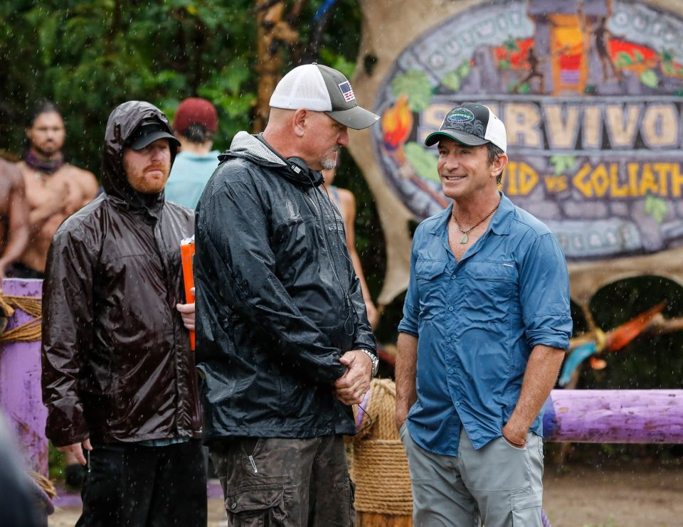 Kirhoffer and producer Jeff Probst on the set of Season