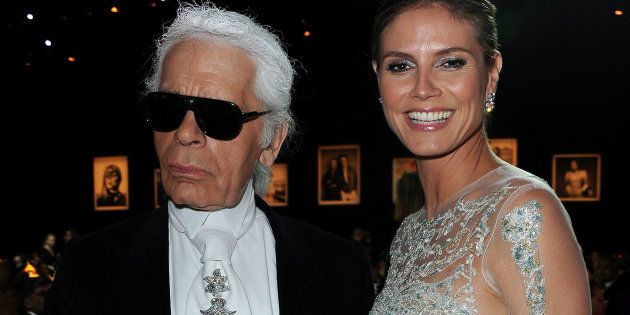 Karl Lagerfeld and Heidi Klum at the 2012 amfAR Cinema Against AIDS event. The supermodel is one of many...