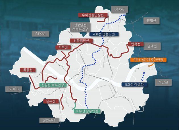 서울의 도시철도 지도는 10년 뒤 이렇게