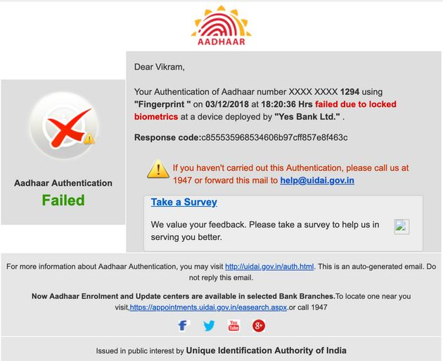 A UIDAI email to Vikram Sheokhand informing him that someone has tried to use his fingerprint at a Yes...