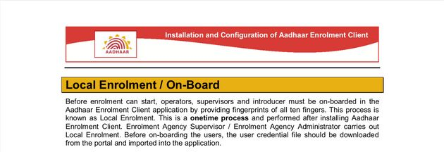 A UIDAI document explaining the on-boarding process for enrolment operators like Vikram