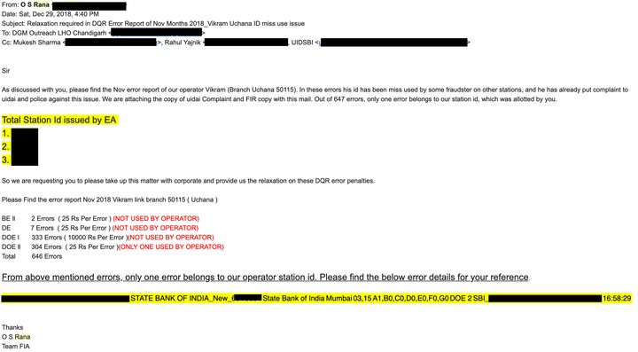 In his email to UIDAI, a FIA representative notes that only one of the violations attributed to Vikram Sheokhand correspond to the actual enrolment station where he worked. The rest have clearly been done by fraudsters. <i>HuffPost India</i> has redacted personal identifiers from this email.