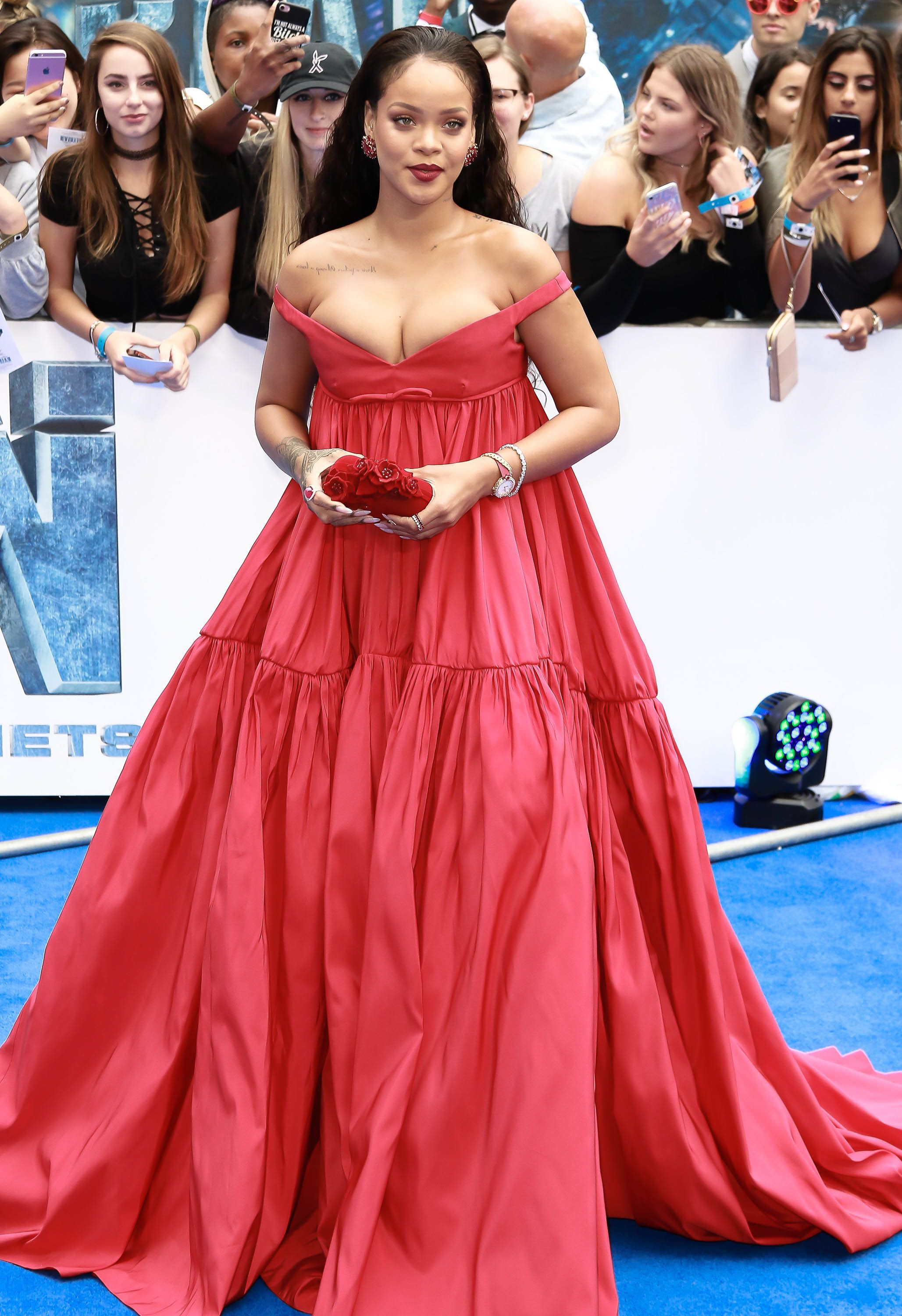Rihanna rocks a stunning red dress at the premiere of<i> Valerian and the City of A Thousand Planets</i>