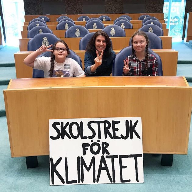 Lilly Platt (left) at the Hague in the Netherlands, with Greta Thunberg (right), the 16-year-old Swedish...