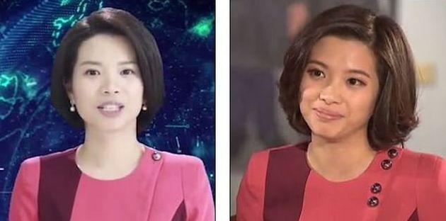 Αριστερά, η ψηφιακή παρουσιάστρια...