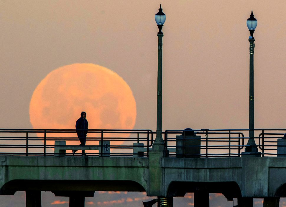 A man walks along the Huntington Beach Pier as the super snow moon sets in Huntington Beach, California.