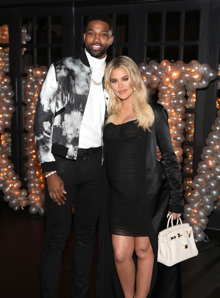 Tristan Thompson and Khloe Kardashian pose together at his birthday celebration in 2018.