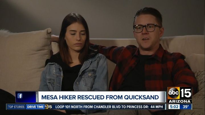 Ryan Osmun was hiking with his girlfriend Jessika McNeill in freezing conditions when his leg became trapped in quicksand for