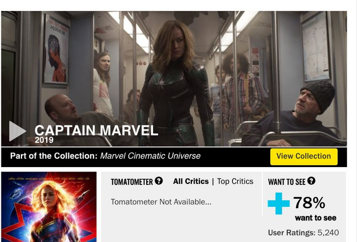 Rotten Tomatoes screenshot from Tuesday, Feb 19.