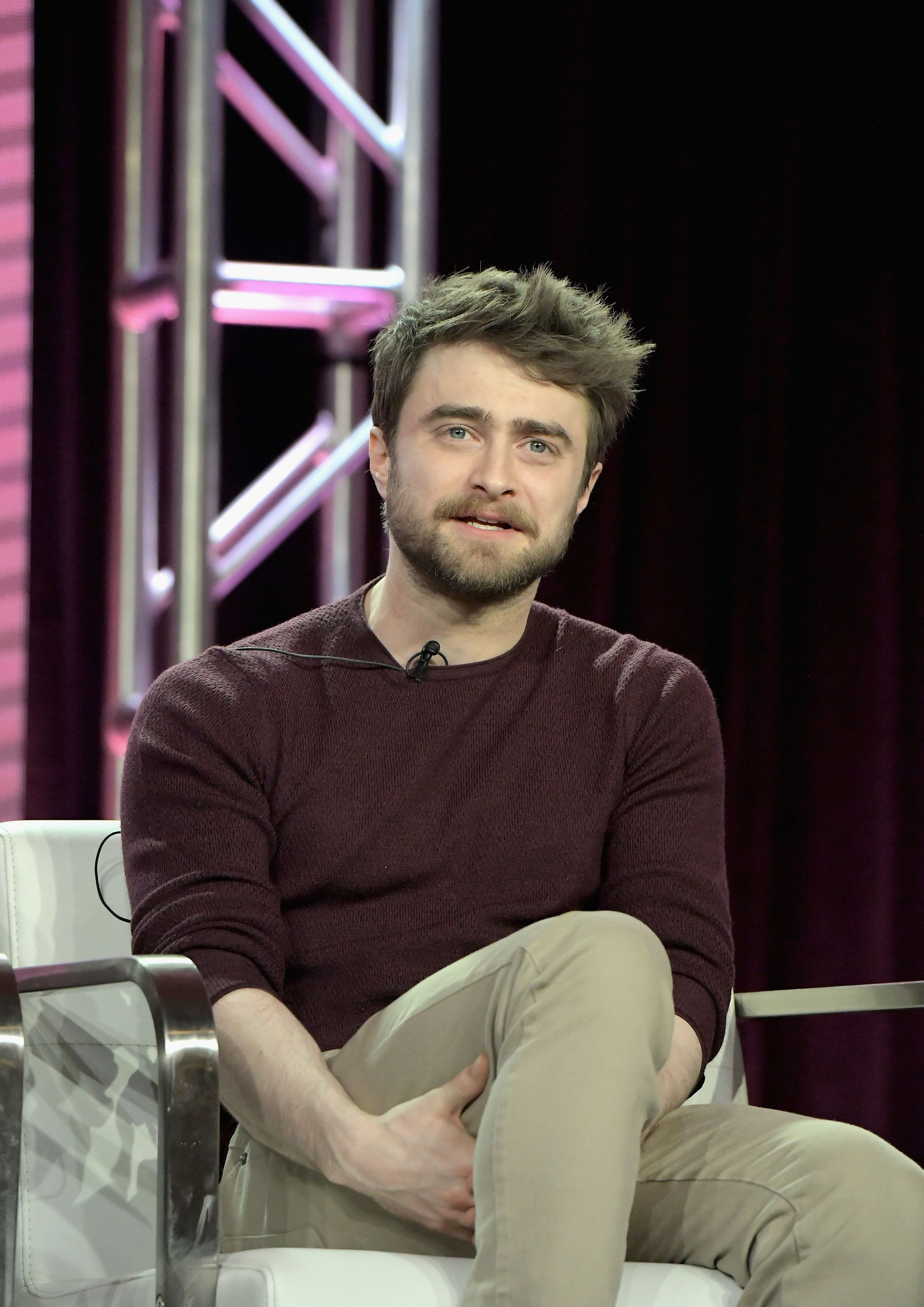 PASADENA, CA - FEBRUARY 11:  Daniel Radcliffe of 'Miracle Workers' speaks onstage during the TBS portion of the TCA Turner Winter Press Tour 2019 Presentation at The Langham Huntington Hotel and Spa on February 11, 2019 in Pasadena, California. 510169  (Photo by Charley Gallay/Getty Images for Turner)