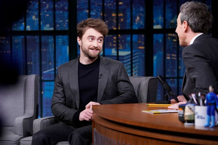 Daniel Radcliffe during an interview with late-night host Seth Meyers on Nov. 21, 2018.