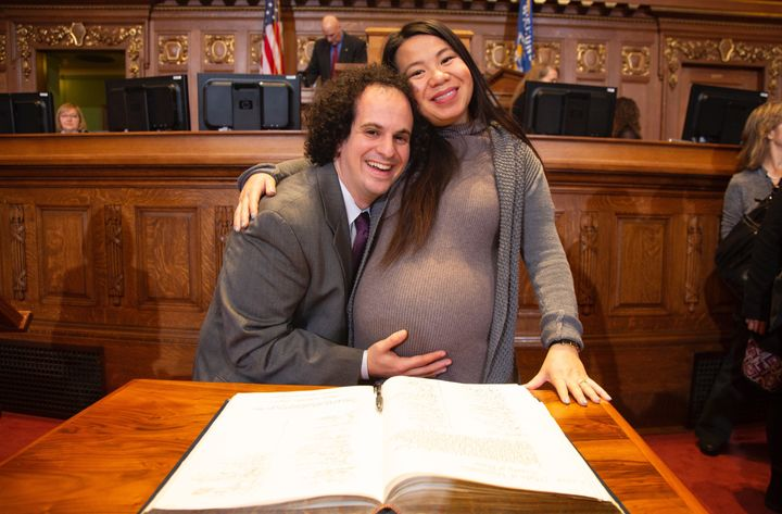 Bristoff with his wife, Diana Vang-Brostoff, who gave birth to their son earlier this month.