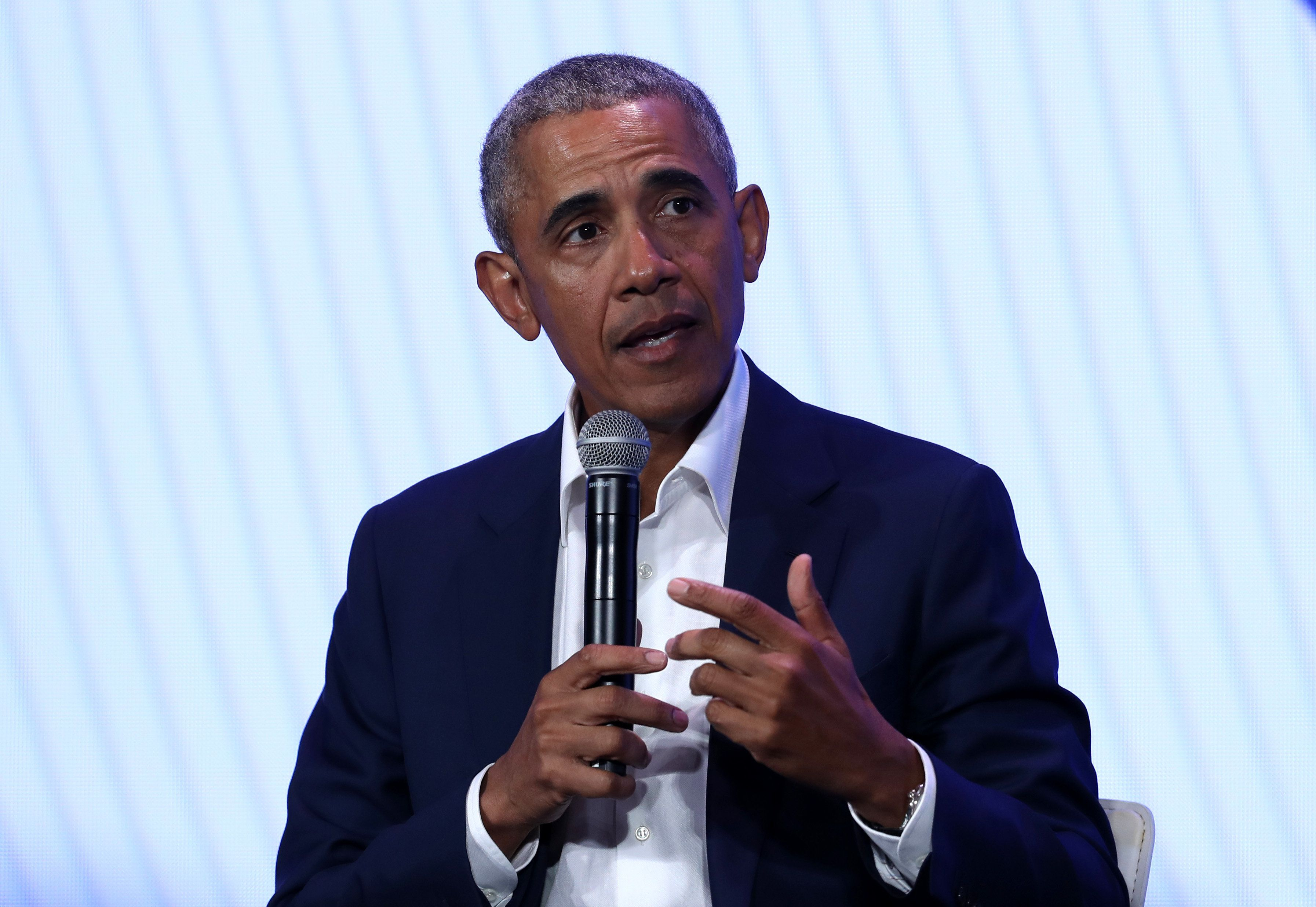 OAKLAND, CALIFORNIA - FEBRUARY 19: Former U.S. President Barack Obama speaks during the MBK Rising! My Brother's Keeper Alliance Summit on February 19, 2019 in Oakland, California.  MBK Rising! is bringing together hundreds of young men of color, local leaders and organizations that are working to reduce youth violence, create impactful mentorship programs, and improving life for young men of color. The My Brother's Keeper initiative was started by President Barack Obama following the death of Trayvon Martin. (Photo by Justin Sullivan/Getty Images)
