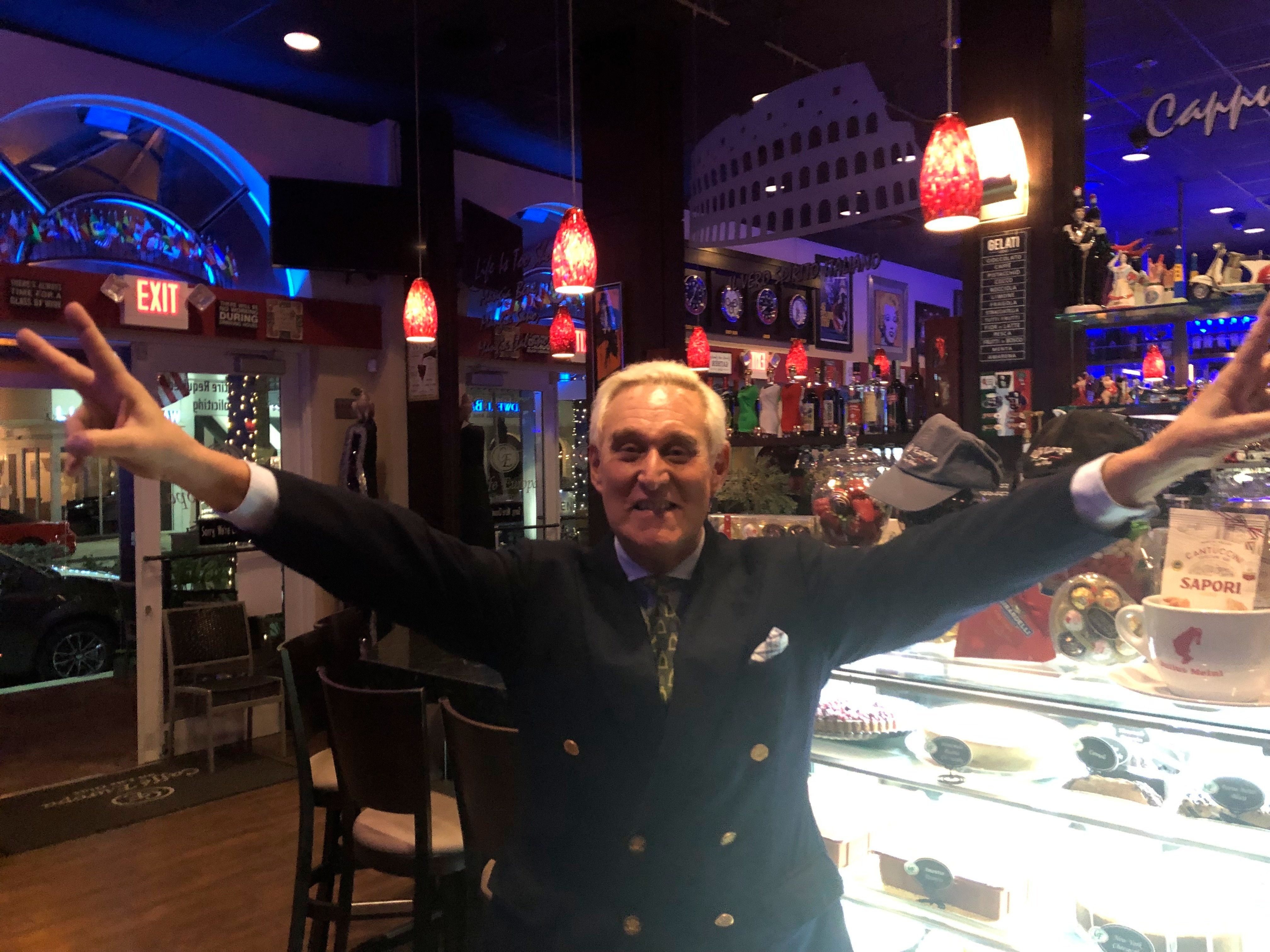 MIAMI, FL - FEBRUARY 4: (EXCLUSIVE COVERAGE) Trump ally Roger Stone (Born: August 27, 1952 age 66 years) seen in good sprits eating dinner. Roger Jason Stone Jr. is an American political consultant, lobbyist and strategist noted for his use of opposition research, usually for candidates of the Republican Party on February, 2019 in Miami, Florida ***NO NY NEWSPAPERS*** People: Roger Stone Credit: Hoo-me.com/MediaPunch /IPX