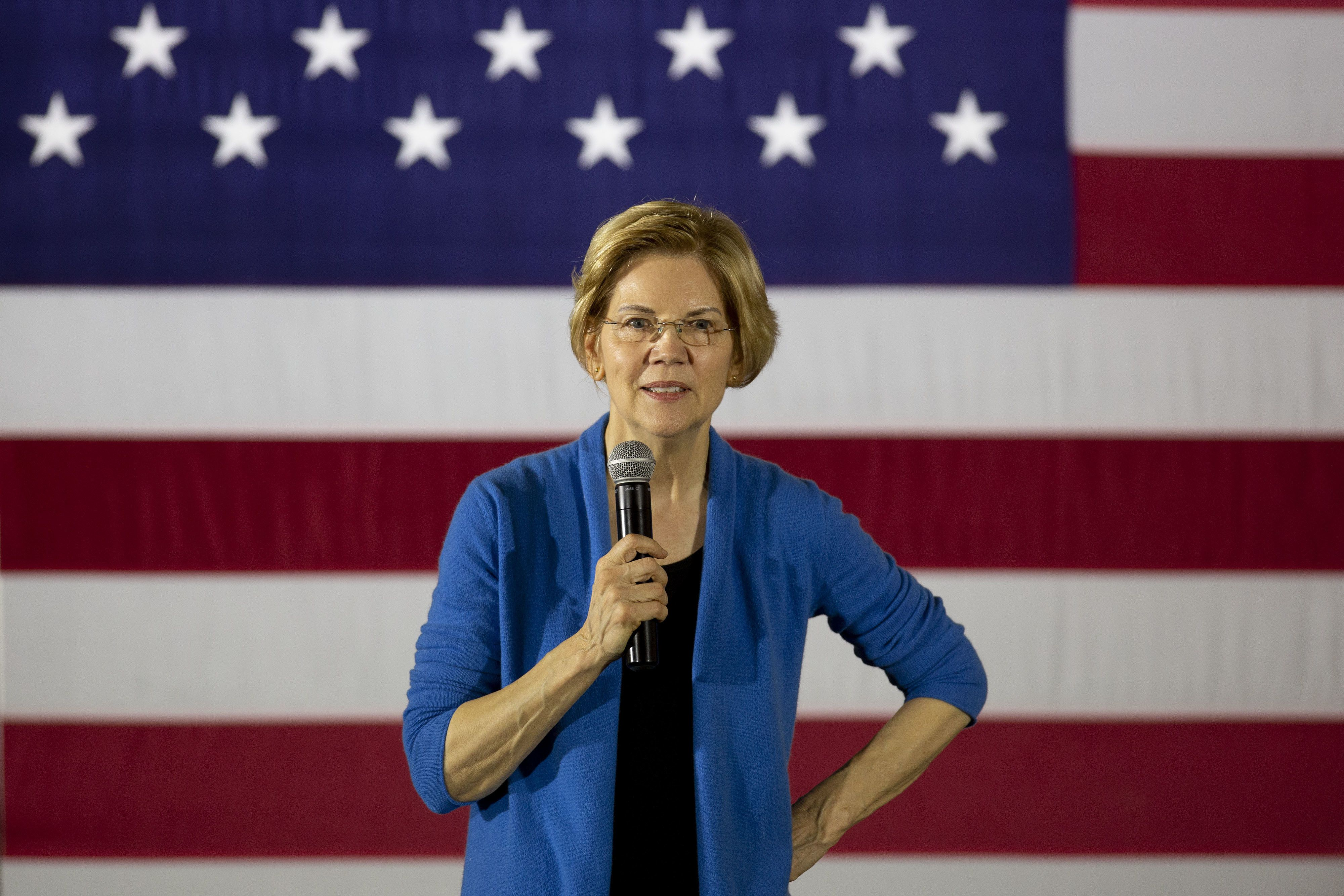 Senator Elizabeth Warren, a Democrat from Massachusetts and 2020 presidential candidate, speaks during a campaign stop in Iowa City, Iowa, U.S., on Sunday, Feb. 10, 2019. Warren made it official on Saturday: She's running for president to change a country she says is 'rigged by the wealthy.' Photographer: Daniel Acker/Bloomberg via Getty Images