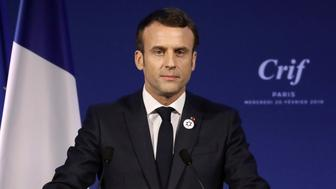 France's President Emmanuel Macron gives a speech during the 34rd annual dinner of the group CRIF, Representative Council of Jewish Institutions of France, in Paris, Wednesday, Feb. 20, 2019. (Ludovic Marin, Pool Photo via AP)