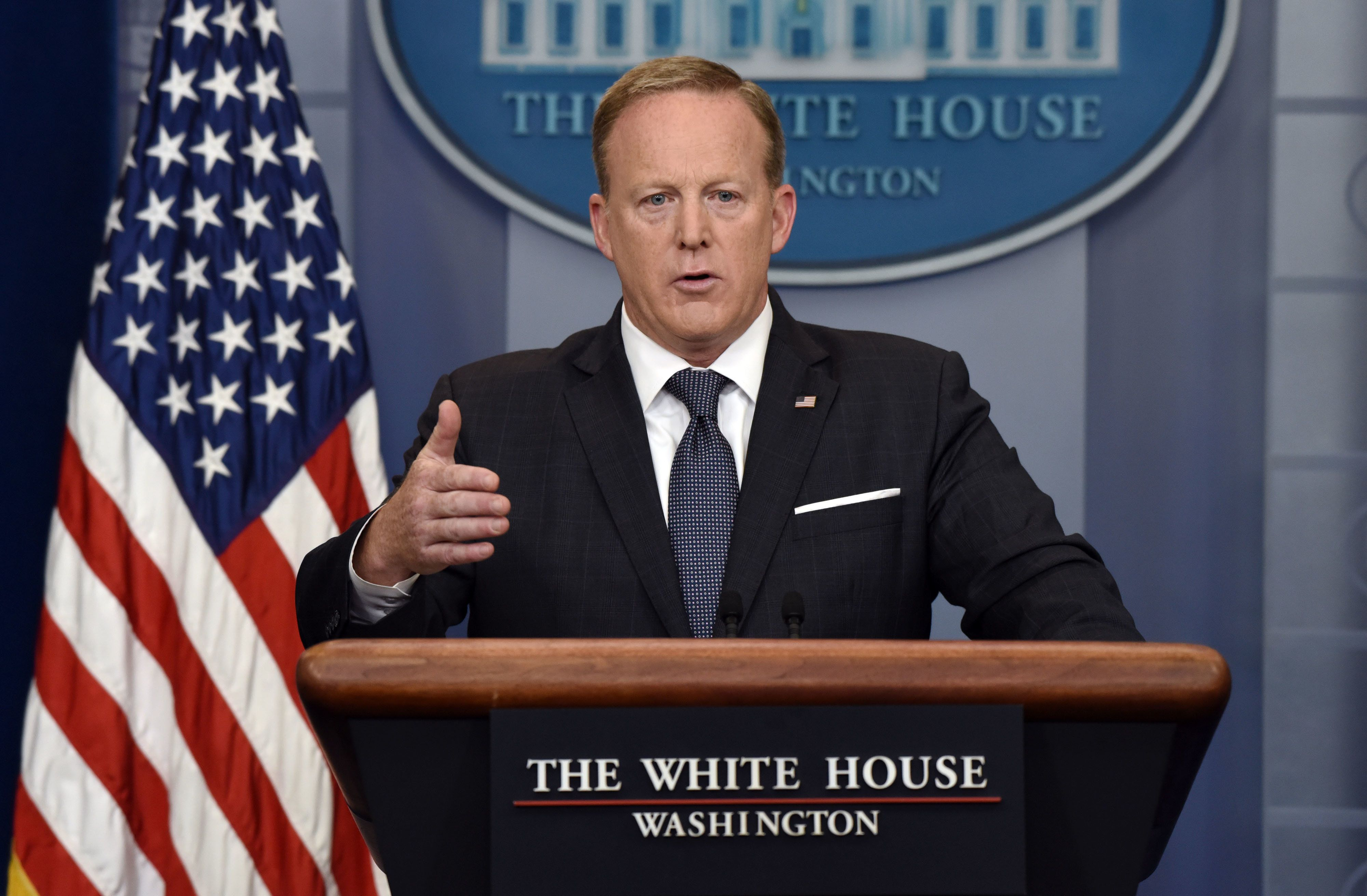 FILE: Sean Spicer, White House press secretary, speaks during a White House press briefing in Washington, D.C., U.S., on Tuesday, May 30, 2017. Sunday, January 20, 2019, marks the second anniversary of U.S. President Donald Trump's inauguration. Our editors select the best archive images looking back over Trumps second year in office. Photographer: Olivier Douliery/Bloomberg via Getty Images