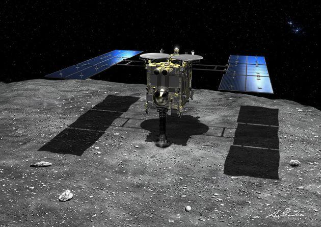 小惑星表面にタッチダウンする「はやぶさ2」の想像図