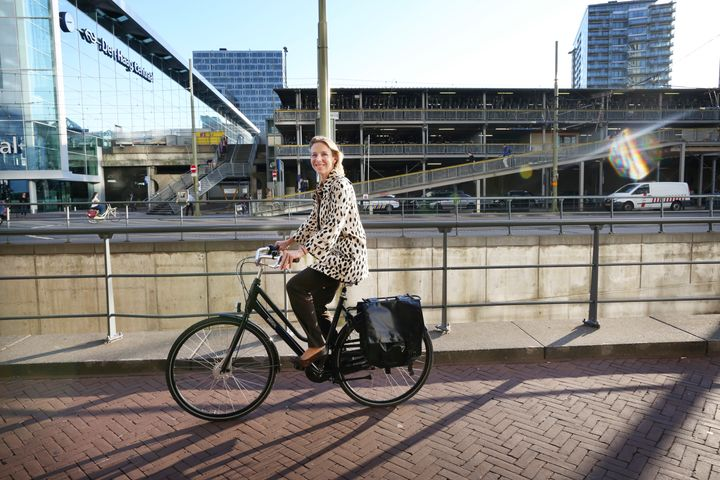 State secretary for infrastructure Stientje van Veldhoven on her bike.
