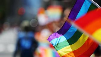 Gay rainbow flags are seen during New York Pride Parade