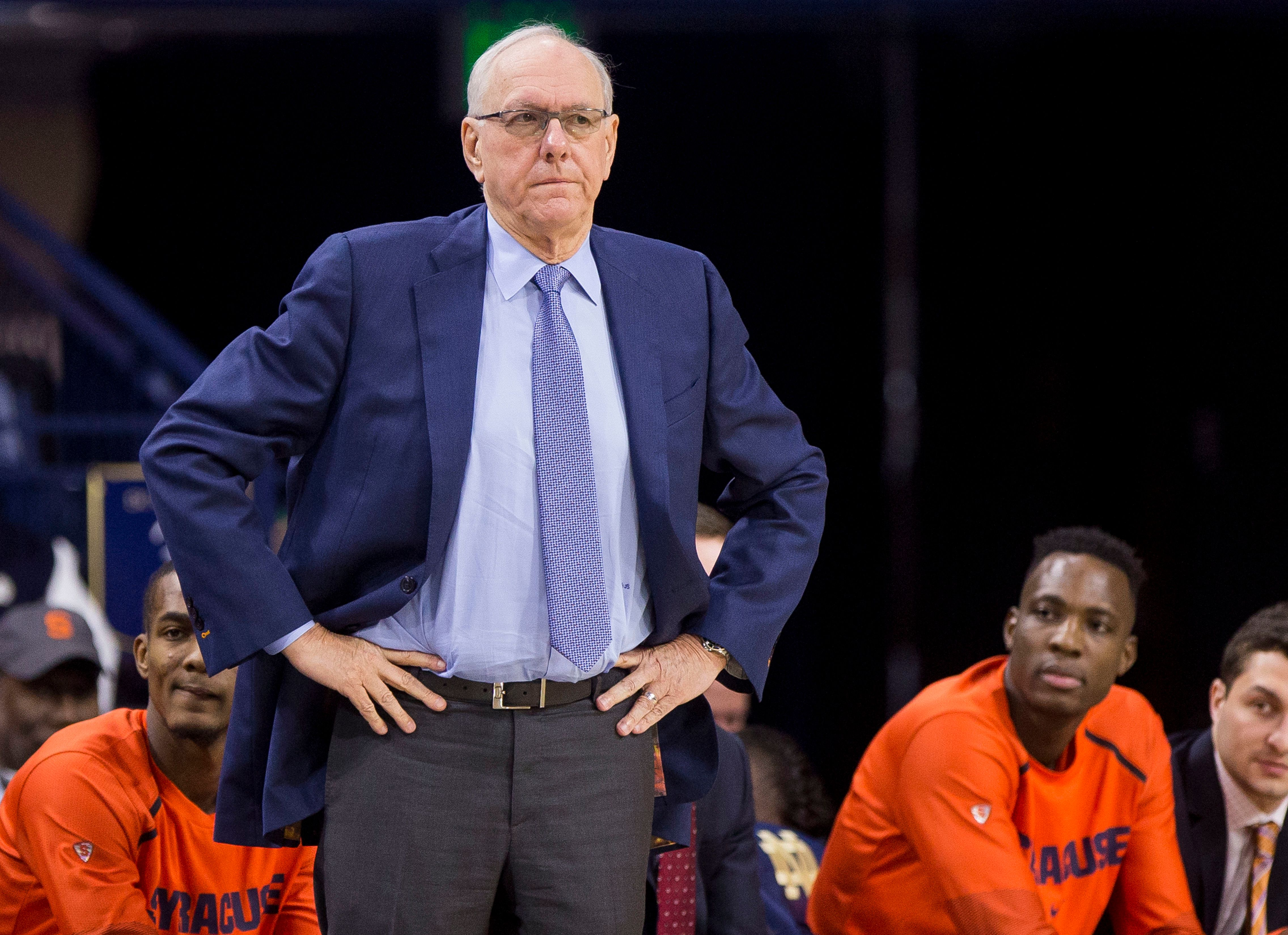 Syracuse head coach Jim Boeheim looks on during the first half of an NCAA college basketball game against Notre Dame Saturday, Jan. 5, 2019, in South Bend, Ind. Syracuse won 72-62. (AP Photo/Robert Franklin)
