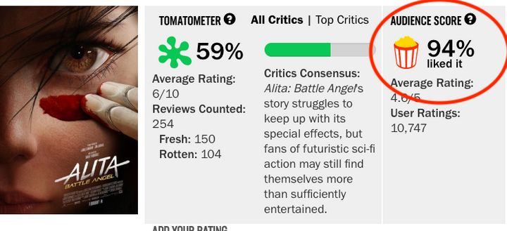 Rotten Tomatoes screenshot before changes.