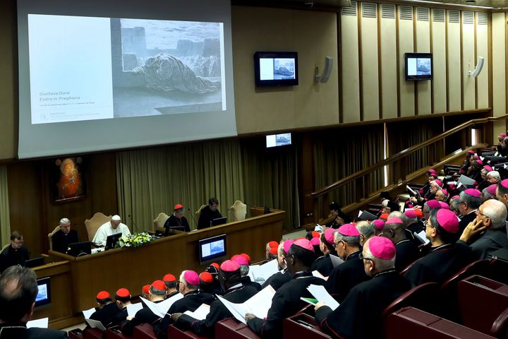 Pope Francis attends the opening session of the Protection of Minors in the Church summit on Feb. 21 in Vatican City.