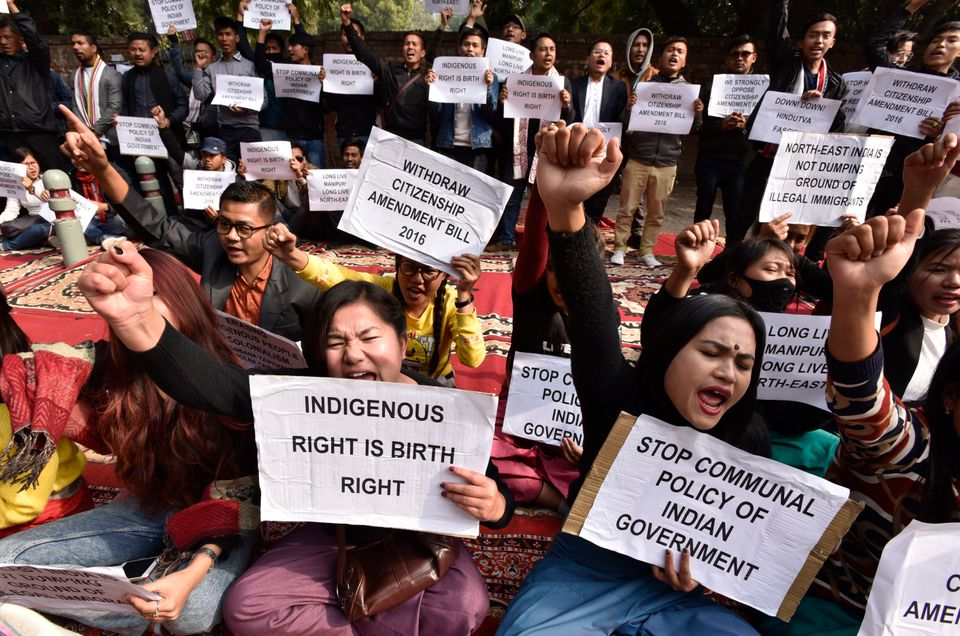 Manipuri students protesting the citizenship Amendment