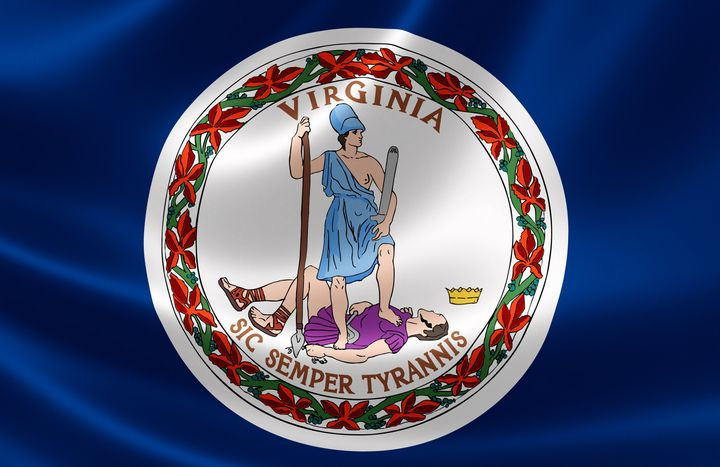 Virginia's seal and flag feature the Roman goddess Virtus triumphantly standing with a single breast exposed. Michelle R
