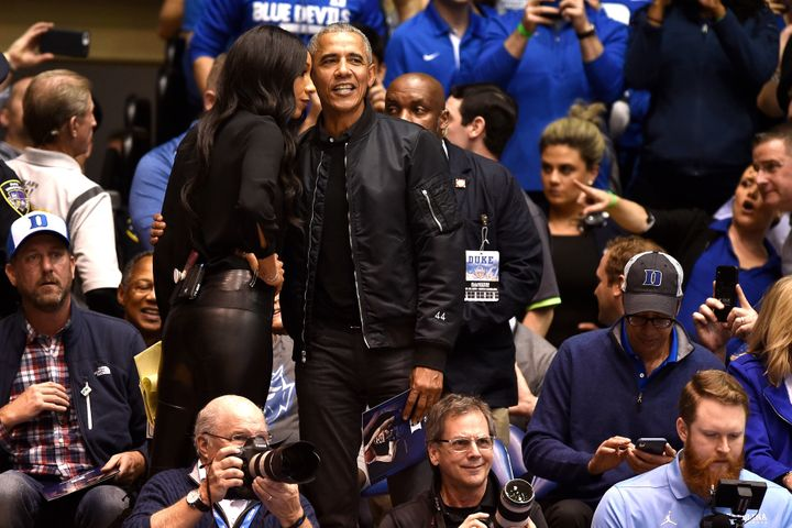 """Check out the """"44"""" on the sleeve of former President Barack Obama's bomber jacket."""