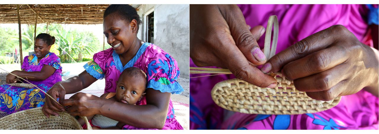 Local weavers Christina Lore (L) and Selina Kalsong (R), holding her grand-daughter Kylie, weave from pandanus leaves at their home in Mangaliliu Village in February 2019.